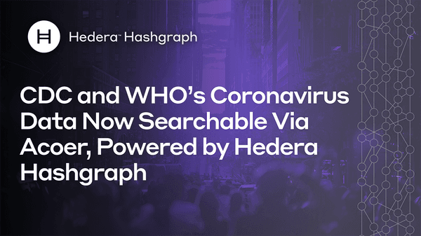Cdc And Who'S Coronavirus Data Now Searchable Via Acoer Powered By Hedera Hashgraph