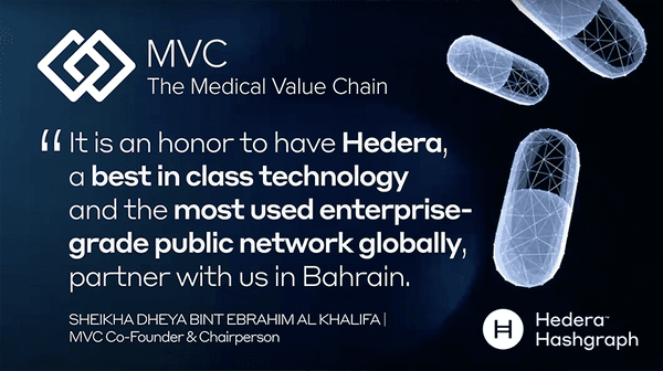 Hedera Consensus Service and MVC Track and Trace Platform Now Fully Integrated for Pharmaceutical Supply Chain Compliance and Finance